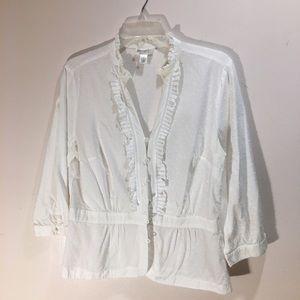 Swiss polkadot three-quarter length sleeve blouse